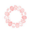 round frame from red doodle easter eggs vector image vector image