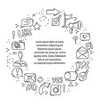 round frame with line icons social networks vector image