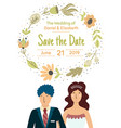 save date card with a happy bride and groom vector image