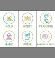 set finance money and bank icons in vector image vector image