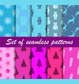 set of christmas seamless patterns sweets gift vector image vector image