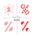 set of red hand drawn percent signs vector image vector image