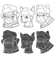 set of with dogs in christmas hats vector image vector image