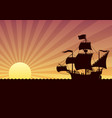 ship sailing sunset vector image vector image