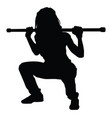 silhouette a woman doing squats on white vector image