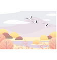 simple autumn landscape with flying japanese vector image