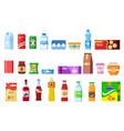 snack products biscuit water juice biscuits cola vector image
