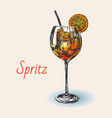 spritz hand drawn summer cocktail drink vector image vector image