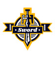 sword logo located on shield lettering on a vector image vector image