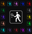 Tennis player icon sign Lots of colorful symbols vector image
