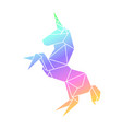unicorn rainbow in origami geometry polygonal vector image