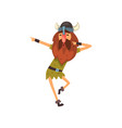 viking in tradition clothing dancing medieval vector image
