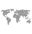 worldwide map mosaic of person items vector image