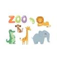 Zoo animals set vector image vector image