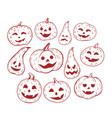 large set of isolated pumpkin halloween hand vector image