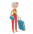elderly woman traveling isolated vector image