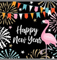 happy new year greeting card invitation with hand vector image