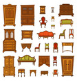 antique furniture set - closet nightstand chairs vector image