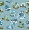 badges catching fish fishing club or shop vector image