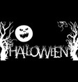 banner with halloween trees and a moon vector image vector image