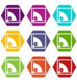 baseball field icon set color hexahedron vector image vector image