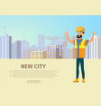 building new city flat web banner template vector image vector image