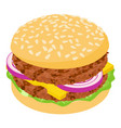 burger cutlet icon isometric 3d style vector image vector image