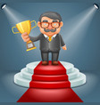 businessman hold prize win award in hand light vector image