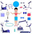 cartoon girl with various sports equipment vector image vector image