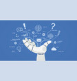 chat bot robot hand with icons vector image