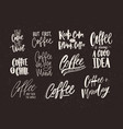 collection of coffee lettering isolated on dark vector image vector image