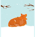 cute cartoon fox in snow vector image