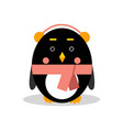 cute cartoon penguin character wearing headphones vector image vector image