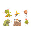 cute funny monsters cartoon characters set vector image vector image