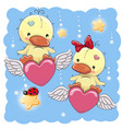 cute lovers ducks vector image vector image
