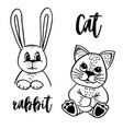 doodle cat and rabbit vector image vector image