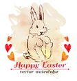 Easter bunny hipster Watercolor Happy vector image