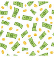 falling dollars flying dollar banknotes gold vector image