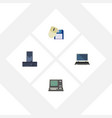 flat icon computer set of processor notebook vector image vector image