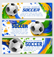 football cup soccer team banners vector image vector image