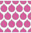fruit seamless pattern dragon fruit on white vector image vector image