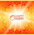 happy onam greeting card with rangoli vector image