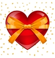 Happy Valentine day greeting card Red heart tied vector image