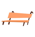 hardwood seat brown bench cafe object vector image vector image