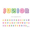 junior 3d bright font modern cartoon abc letters vector image