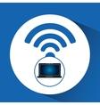 laptop blue display internet social media vector image vector image