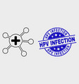 line medical links icon and distress hpv vector image vector image