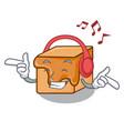 listening music caramel candies mascot cartoon vector image vector image