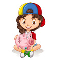 Little girl and piggy bank vector image