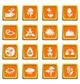 nature icons set orange square vector image